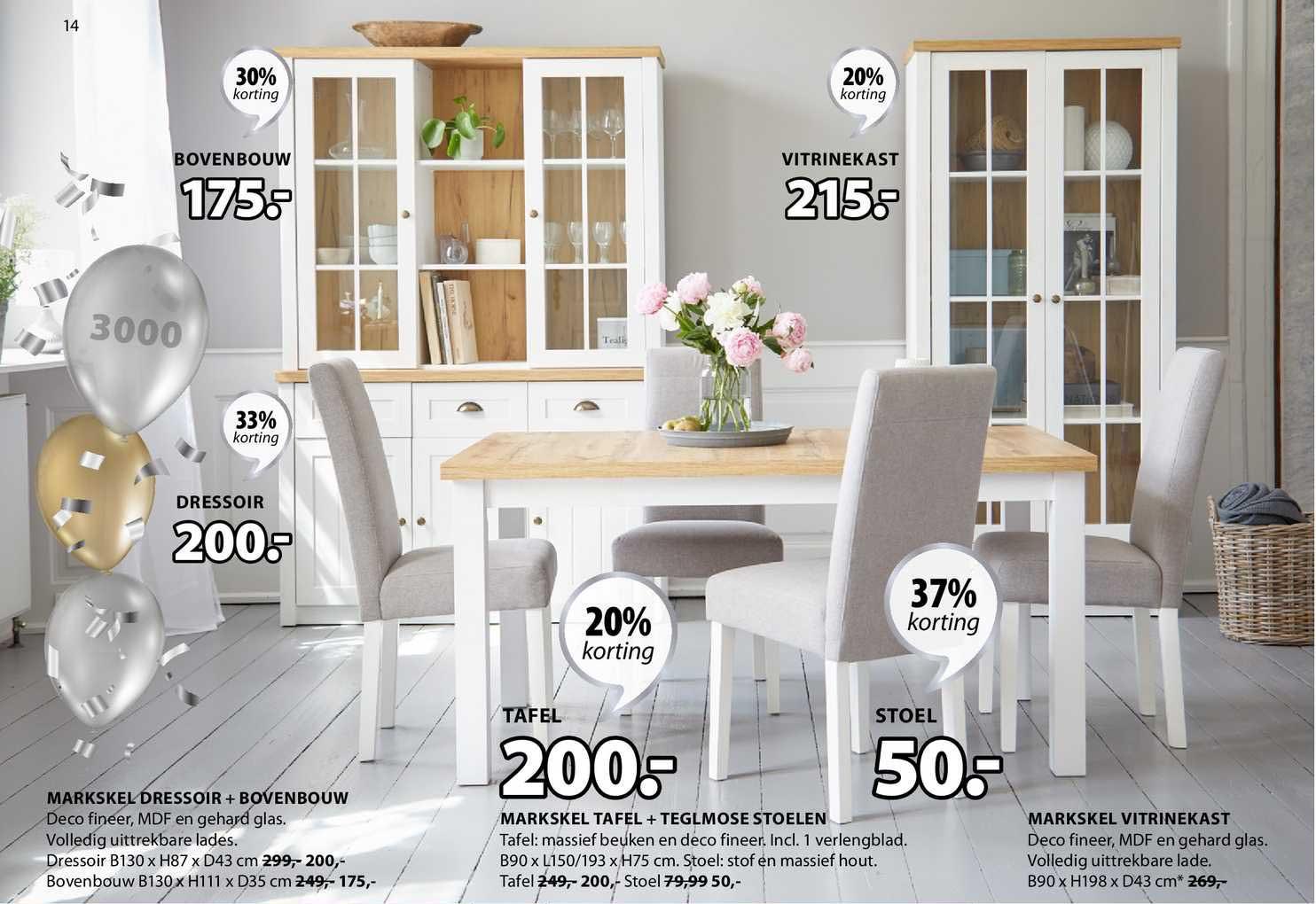 Jysk Markskel Dressoir + Bovenbouw, Markskel Tafel + Teglmose Stoelen Of Markskel Vitrinekast 20% - 37% Korting