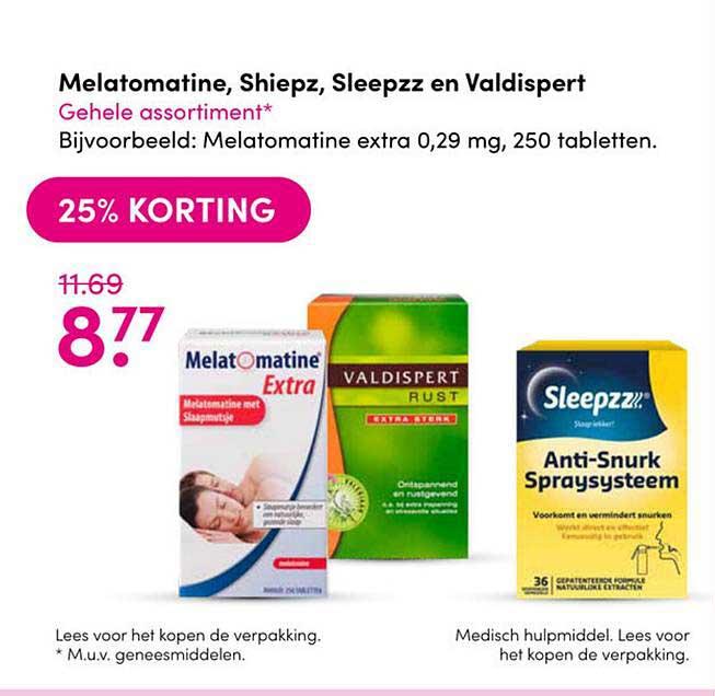 Drogisterij Visser Melatomatine, Shiepz, Sleepzz En Valdispert 25% Korting