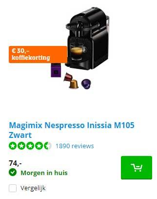 Coolblue Magimix Nespresso Inissia M105 Zwart: €30,- Koffiekorting