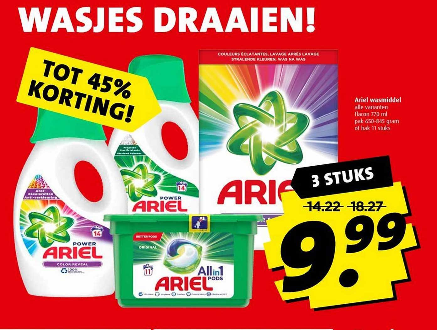 Boni Ariel Wasmiddel Tot 45% Korting