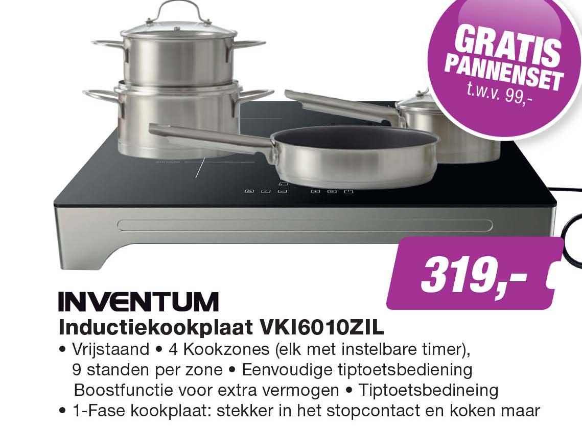 EP Inventum Inductiekookplaat VKI16010ZIL + GRATIS Pannenset T.w.v. €99,-