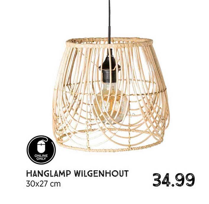 Xenos Hanglamp Wilgenhout 30x27 Cm
