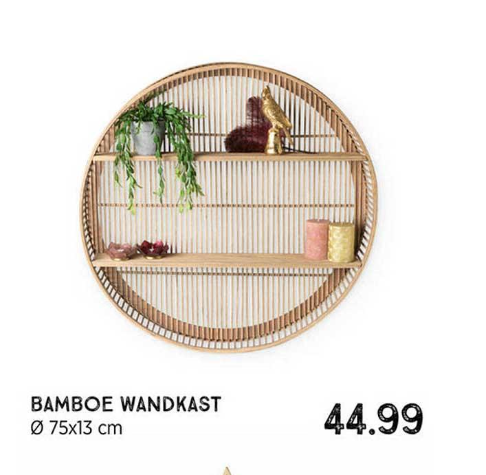 Xenos Bamboe Wandkast Ø 75x13 Cm