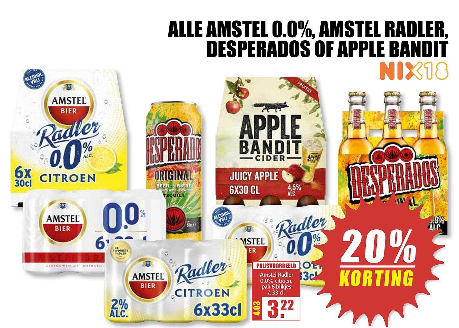 MCD Supermarkt Alle Amstel 0.0%, Amstel Radler, Desperados Of Apple Bandit 20% Korting
