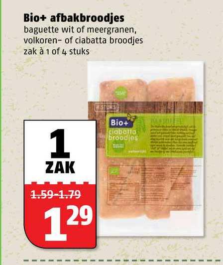 Poiesz Bio+ Afbakbroodjes Baguette Wit Of Meergranen, Volkoren- Of Ciabatta Broodjes