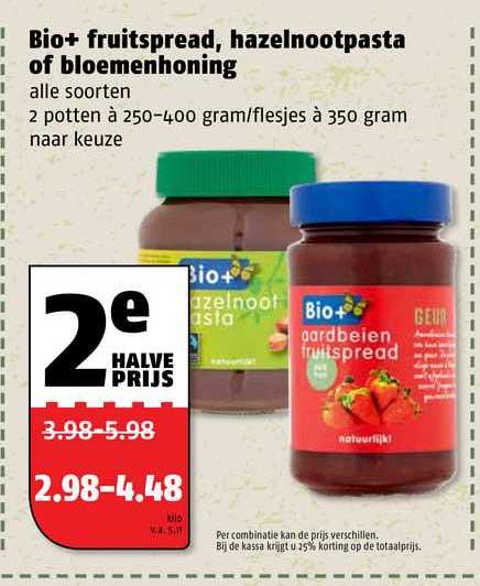 Poiesz Bio+ Fruitspread, Hazelnootpast Of Bloemenhoning