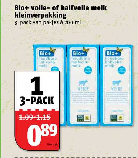Poiesz Bio+ Volle- Of Halfvolle Melk Kleinverpakking