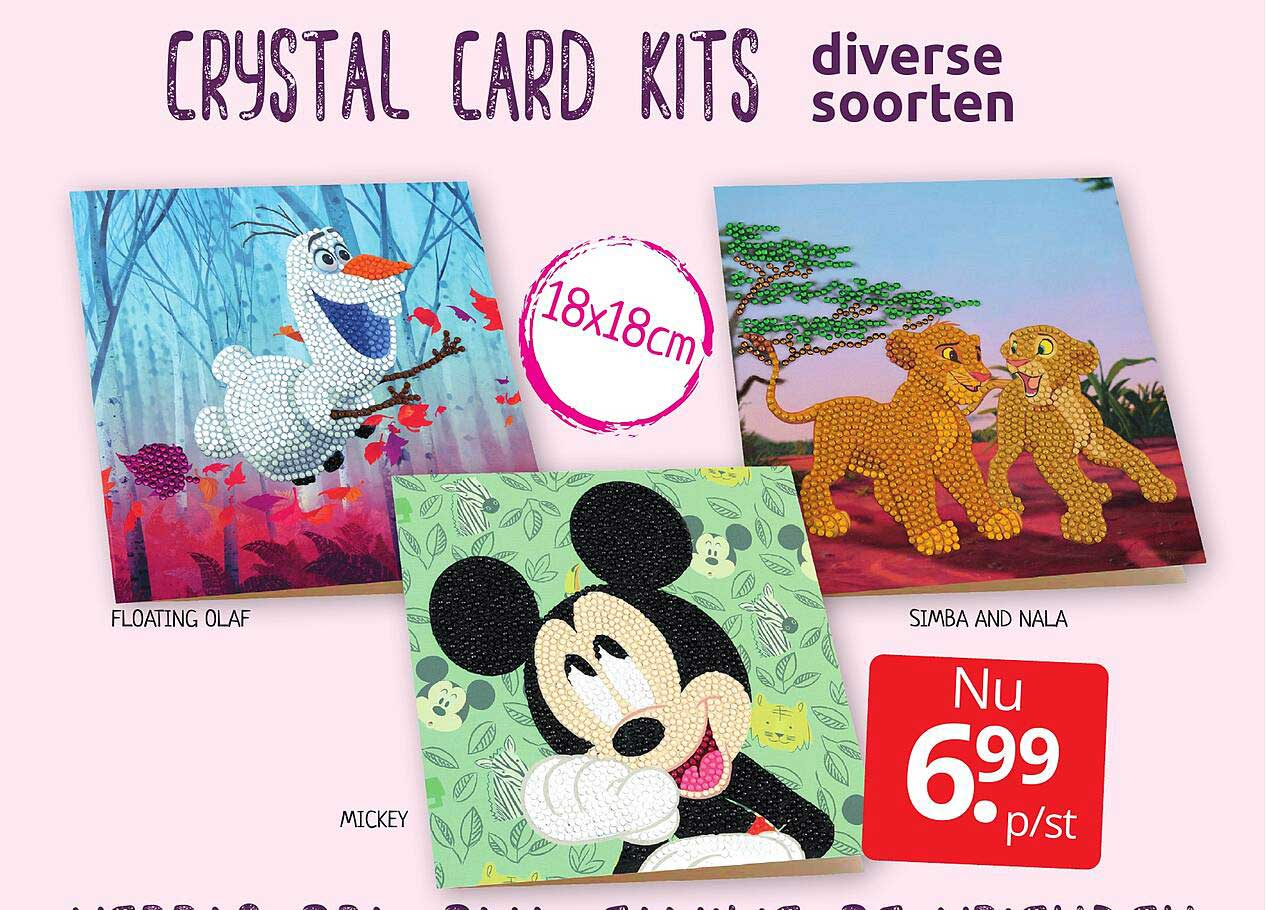 BoekenVoordeel Crystal Card Kits Floating Olaf, Mickey Of Simba And Nala