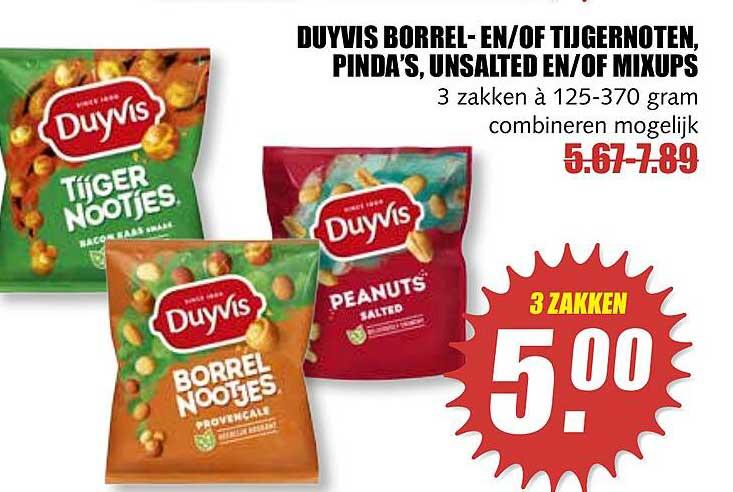 MCD Supermarkt Duyvis Borrel- En-of Tijgernoten, Pinda's, Unsalted En-of Mixups