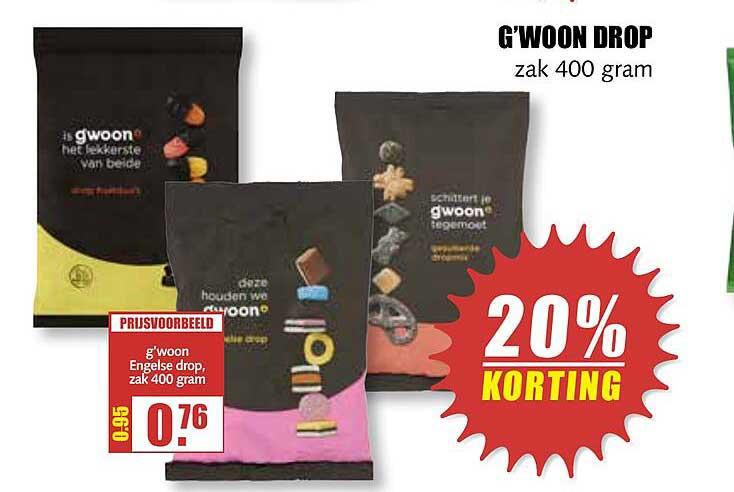 MCD Supermarkt G'woon Drop 20% Korting
