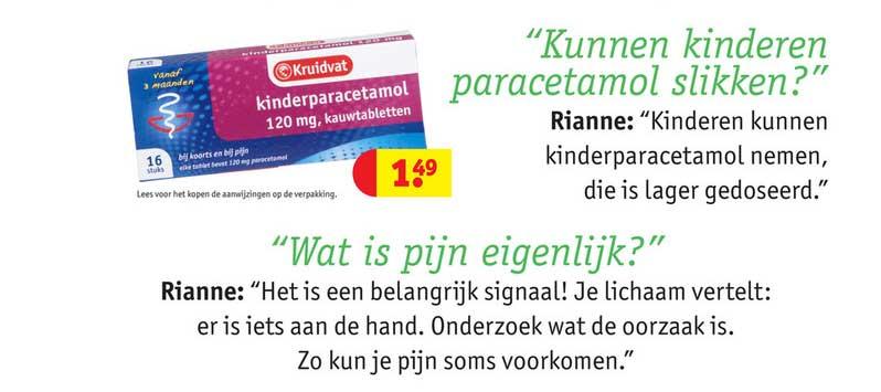 Kruidvat Kruidvat Kinderparacetamol 120 Mg, Kauwtabletten