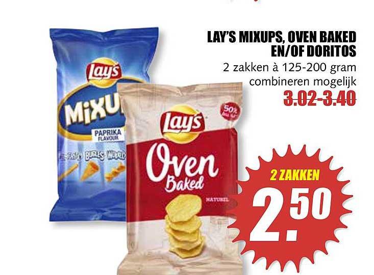 MCD Supermarkt Lay's Mixups, Oven Baked En-of Doritos