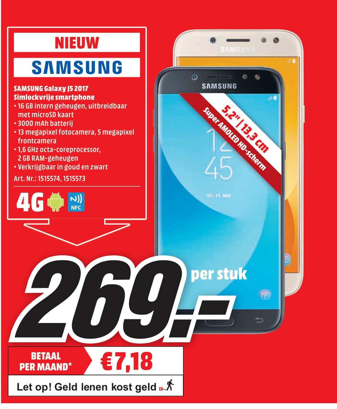 Samsung Galaxy J5 2017 Simlockvrije Smartphone Aanbieding Bij Mediamarkt