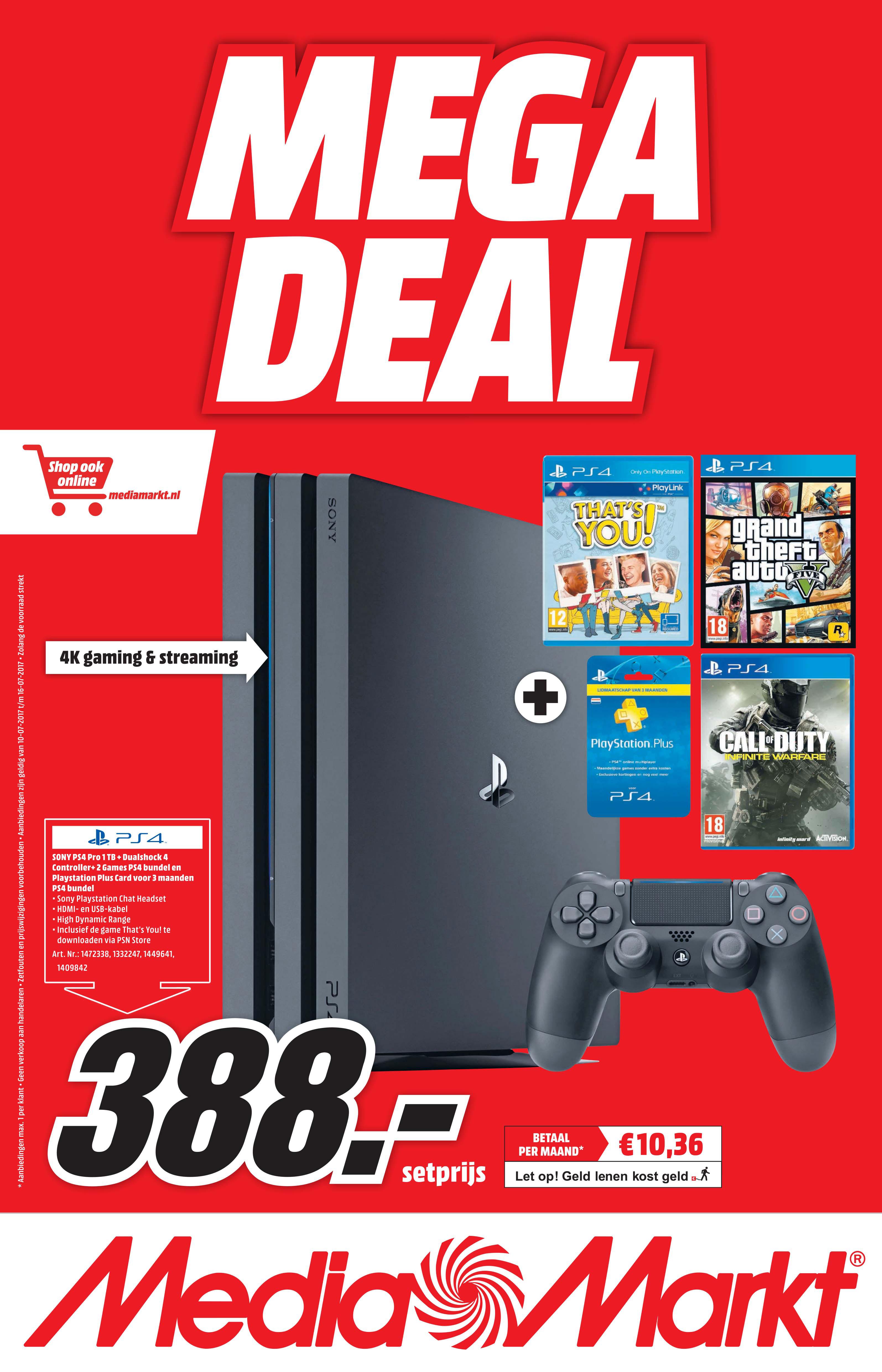 MediaMarkt Sony Ps4 Pro 1TB + Dualshock 4 Controller + 2 Games Ps4 Bundel En Playstation Plus Card Voor 3 Maanden Ps4 Bundel