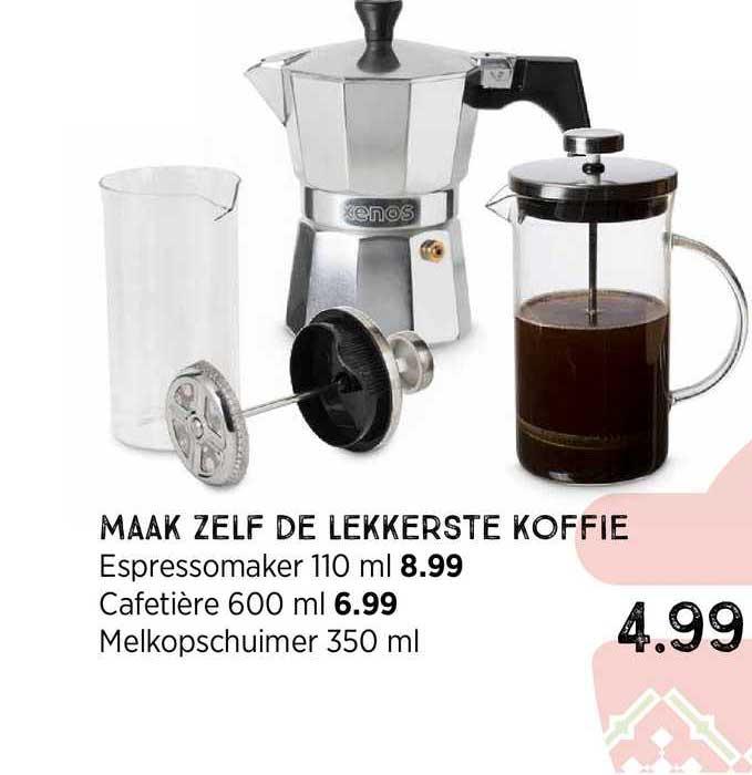 Xenos Maak Zelf De Lekkerste Koffie : Espressomaker 110 Ml, Cafetière 600 Ml Of Melkopschuimer 350 Ml