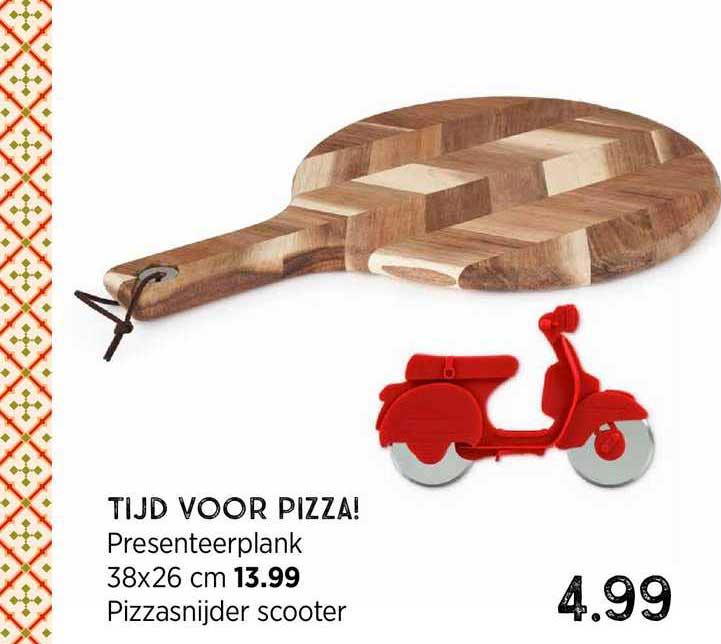 Xenos Tijd Voor Pizza! Presenteerplank 38x26 Cm Of Pizzasnijder Scooter