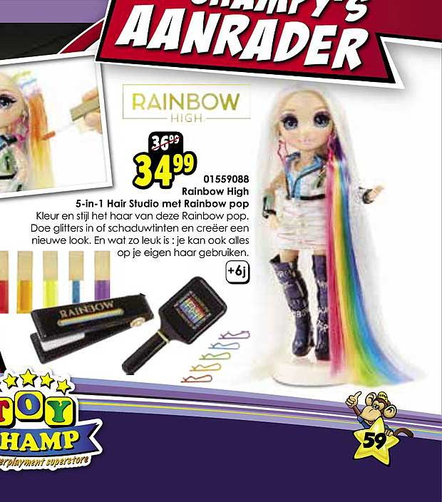 Toychamp Rainbow High 5 In 1 Hair Studio Met Rainbow Pop