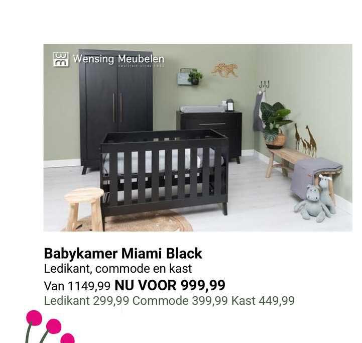 Van Asten Babykamer Miami Black Ledikant, Commode En Kast