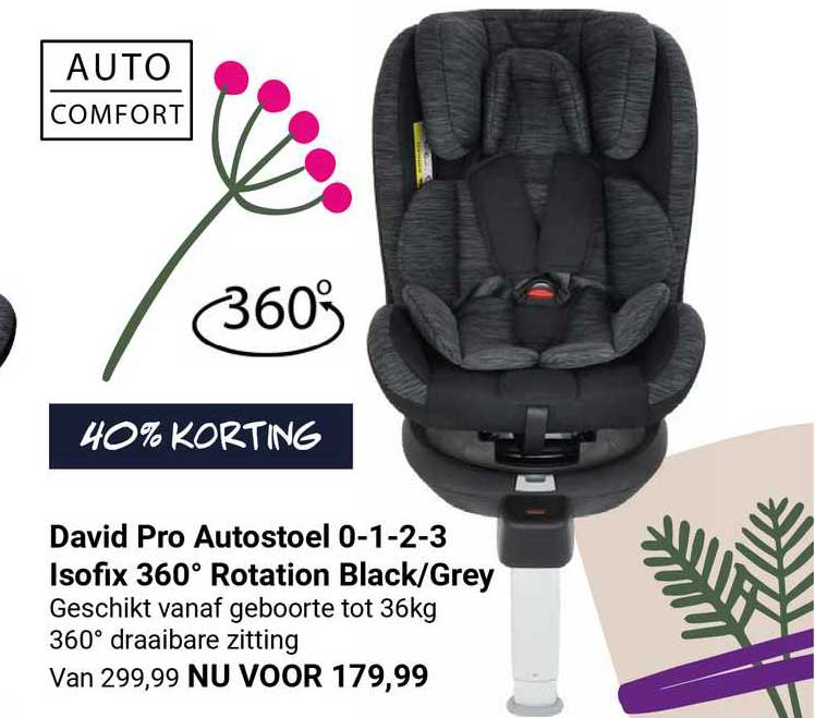 Van Asten David Pro Autostoel 0-1-2-3 Isofix 360º Rotation Black-Grey 40% Korting