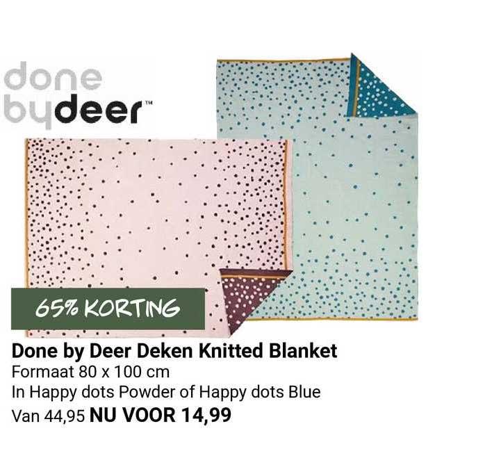 Van Asten Done By Deer Deken Knitted Blanket 65% Korting