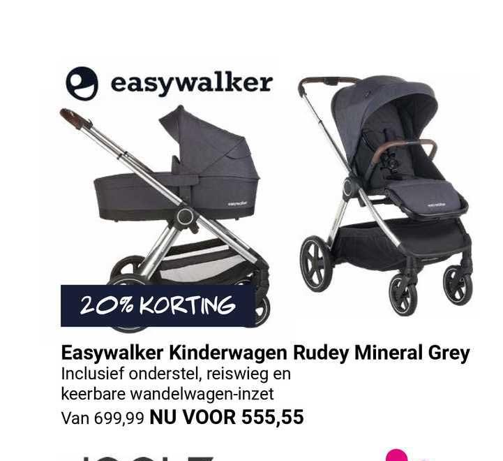 Van Asten Easywalker Kinderwagen Rudey Mineral Grey 20% Korting