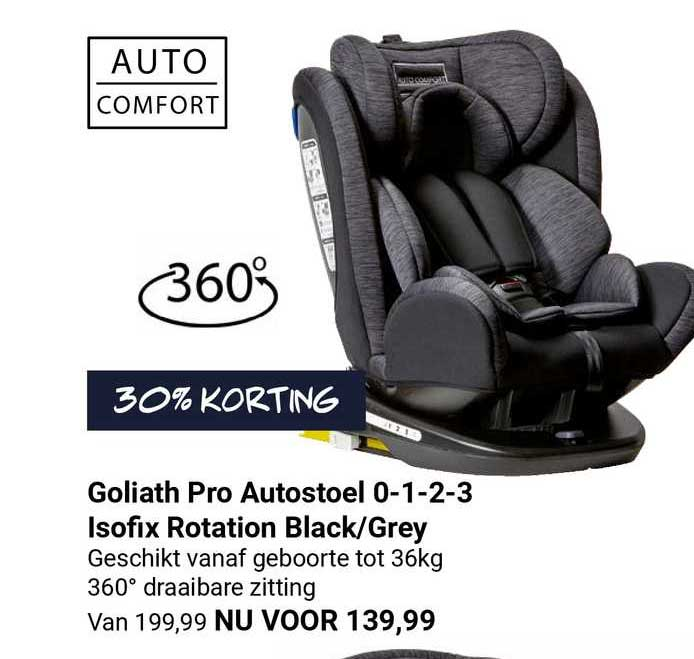 Van Asten Goliath Pro Autostoel 0-1-2-3 Isofix Rotation Black-Grey 30% Korting