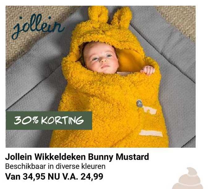 Van Asten Jollein Wikkeldeken Bunny Mustard 30% Korting