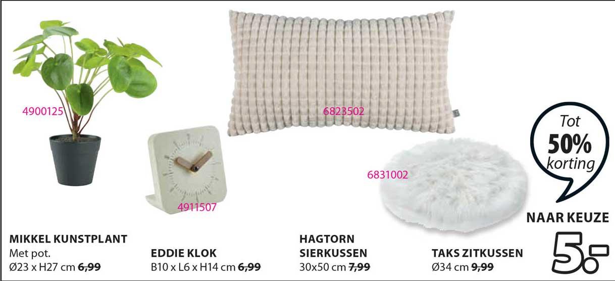 Jysk Mikkel Kunstplant, Eddie Klok, Hagtorn Sierkussen Of Taks Zitkussen Tot 50% Korting