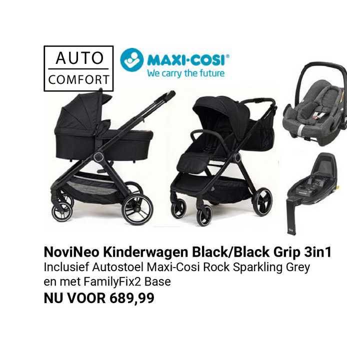 Van Asten NoviNeo Kinderwagen Black-Black Grip 3in1
