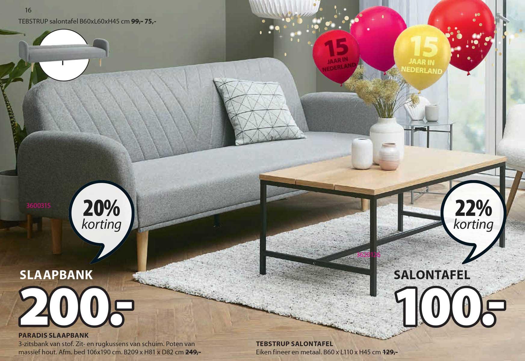Jysk Paradis Slaapbank Of Tebstrup Salontafel 20% - 22% Korting