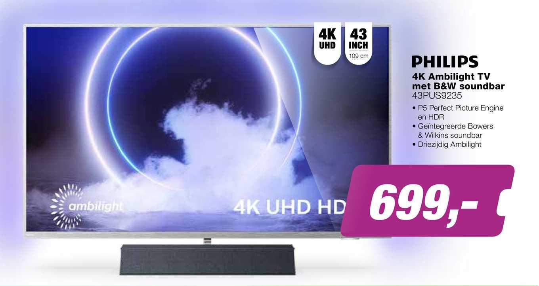 EP Philips 4K Ambilight TV Met B&W Soundbar