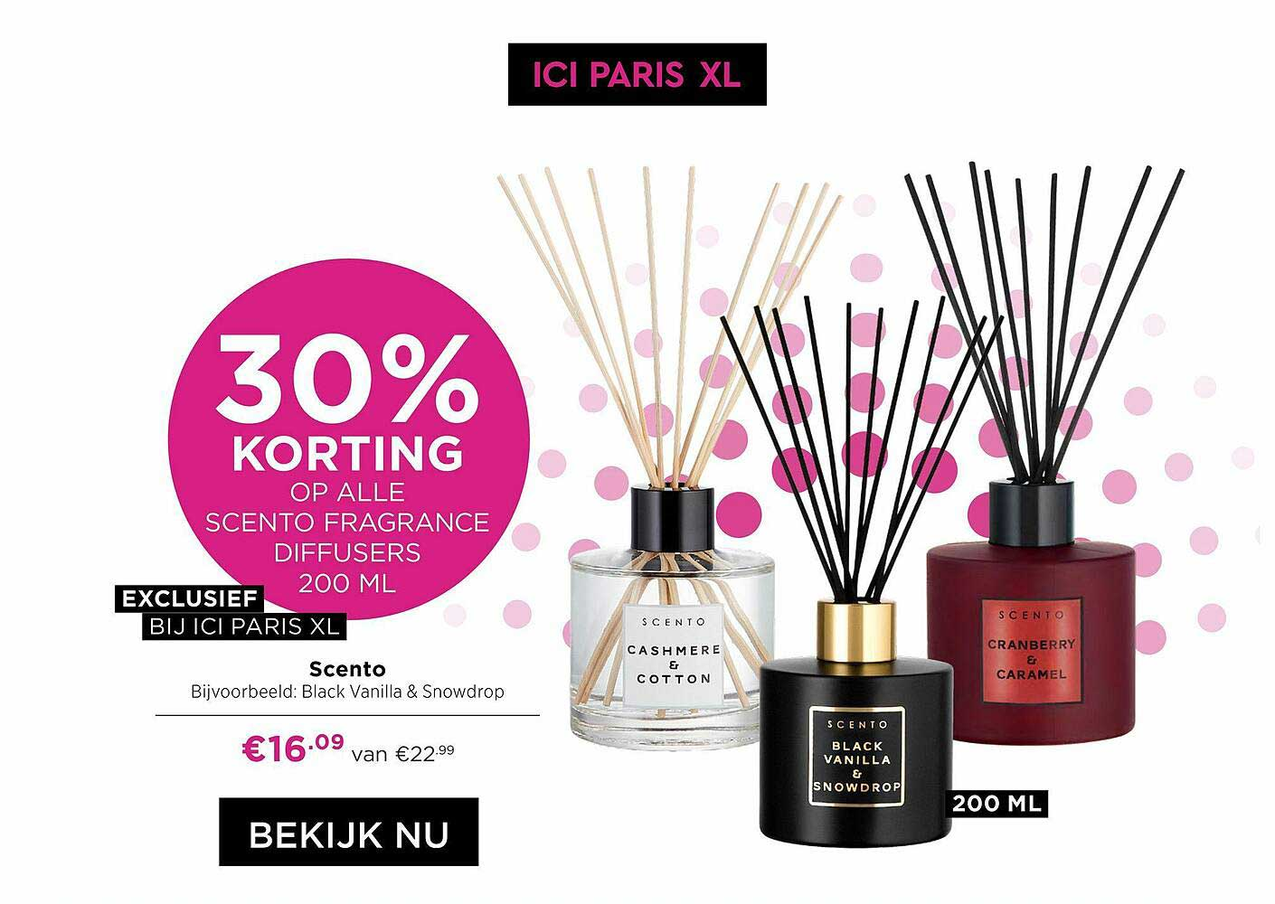 ICI PARIS XL Scento Black Vanilla & Snowdrop 30% Korting