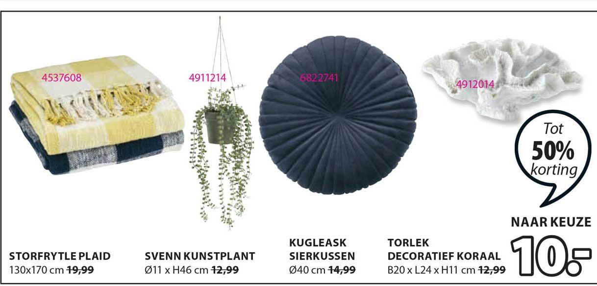 Jysk Storfrytle Plaid, Svenn Kunstplant, Kugleask Sierkussen Of Torlek Decoratief Koraal Tot 50% Korting