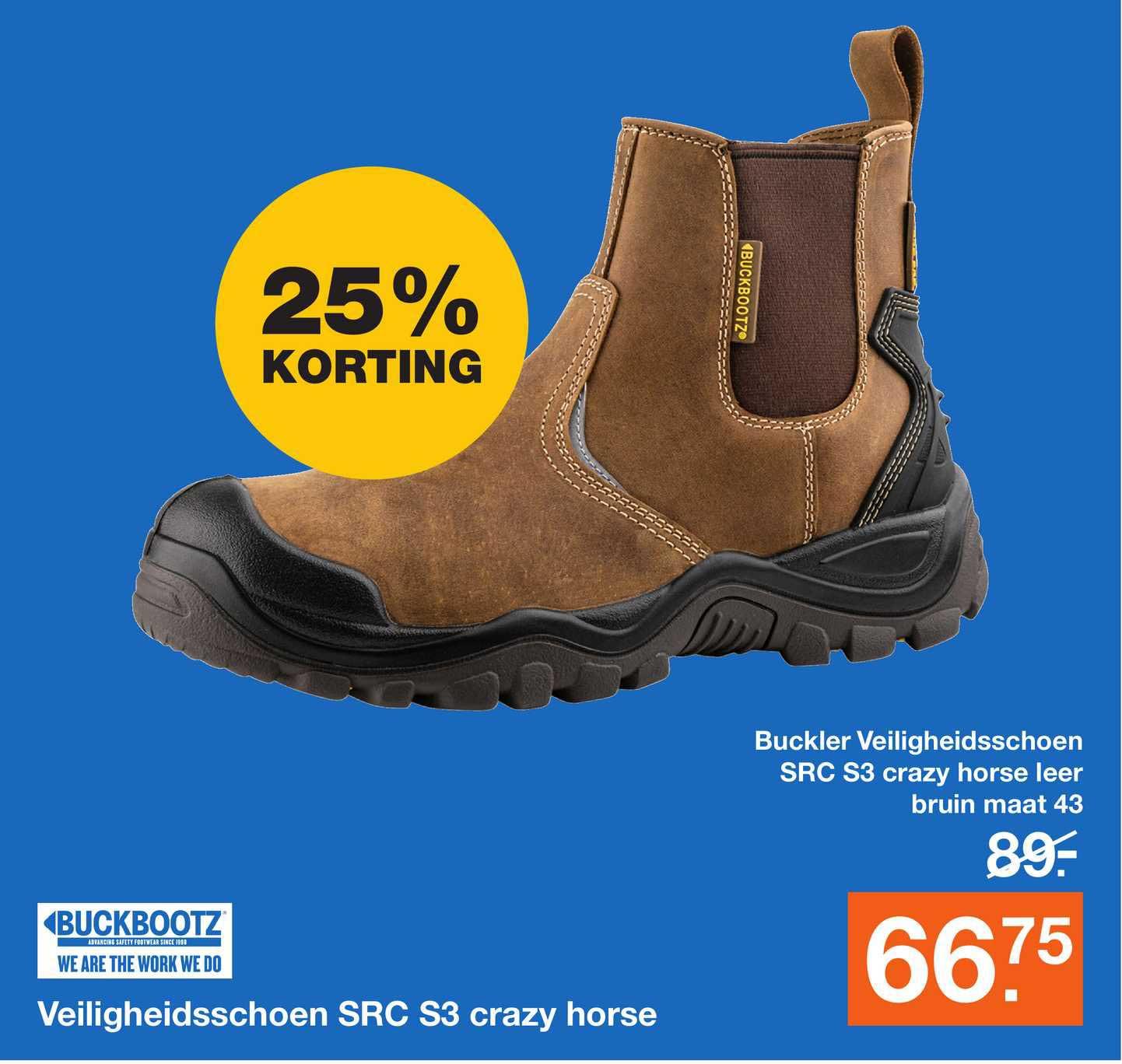 Bouwmaat Veiligheidsschoen SRC S3 Crazy Horse 25% Korting