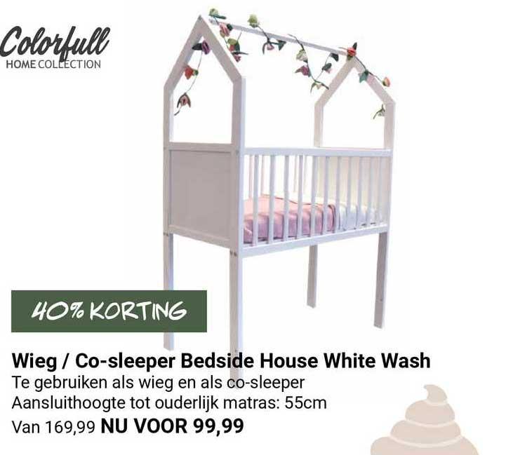 Van Asten Wieg - Co-Sleeper Bedside House White Wash 40% Korting