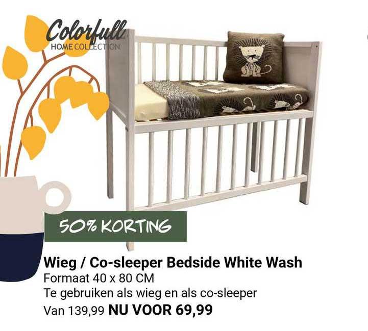 Van Asten Wieg - Co-Sleeper Bedside White Wash 50% Korting