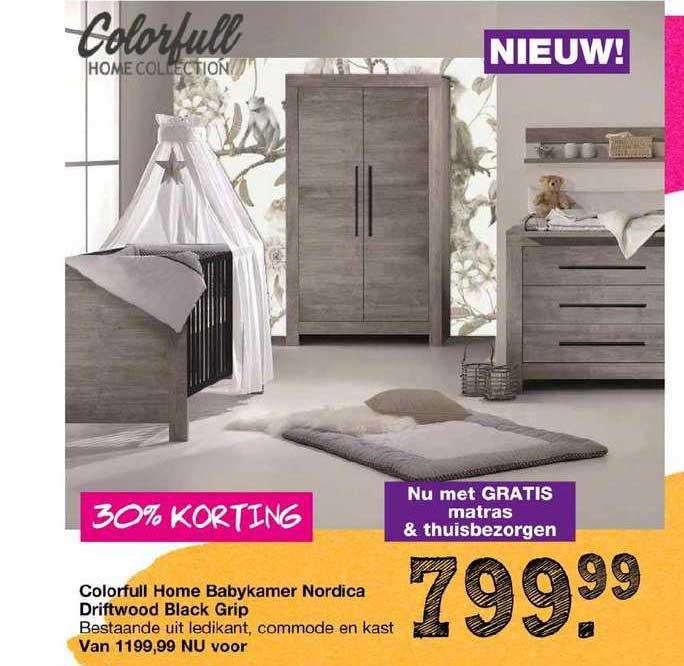Van Asten Colorfull Home Babykamer Nordica Driftwood Black Grip 30% Korting