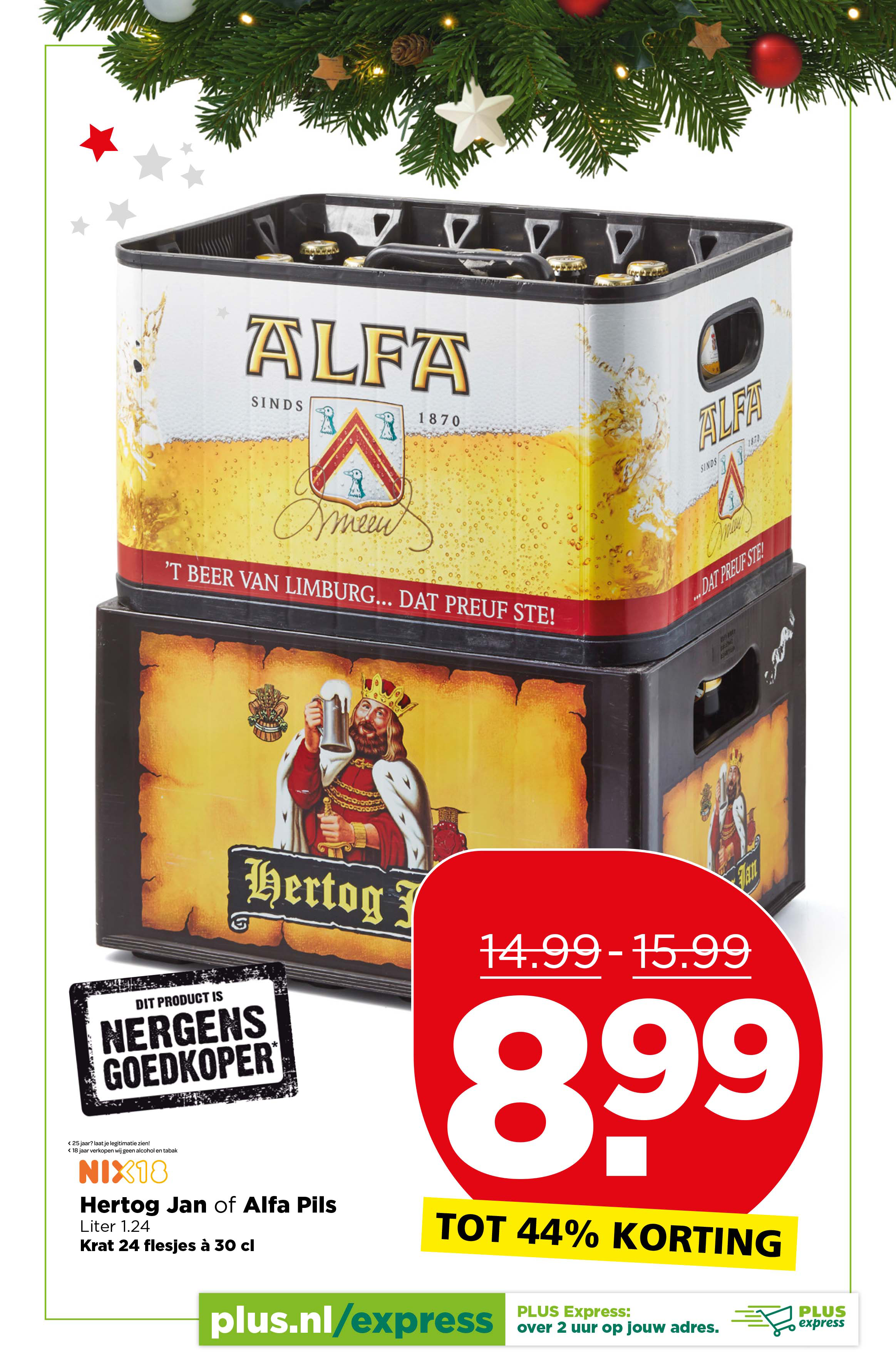 PLUS Hertog Jan Of Alfa Pils Krat 24 Flesjes