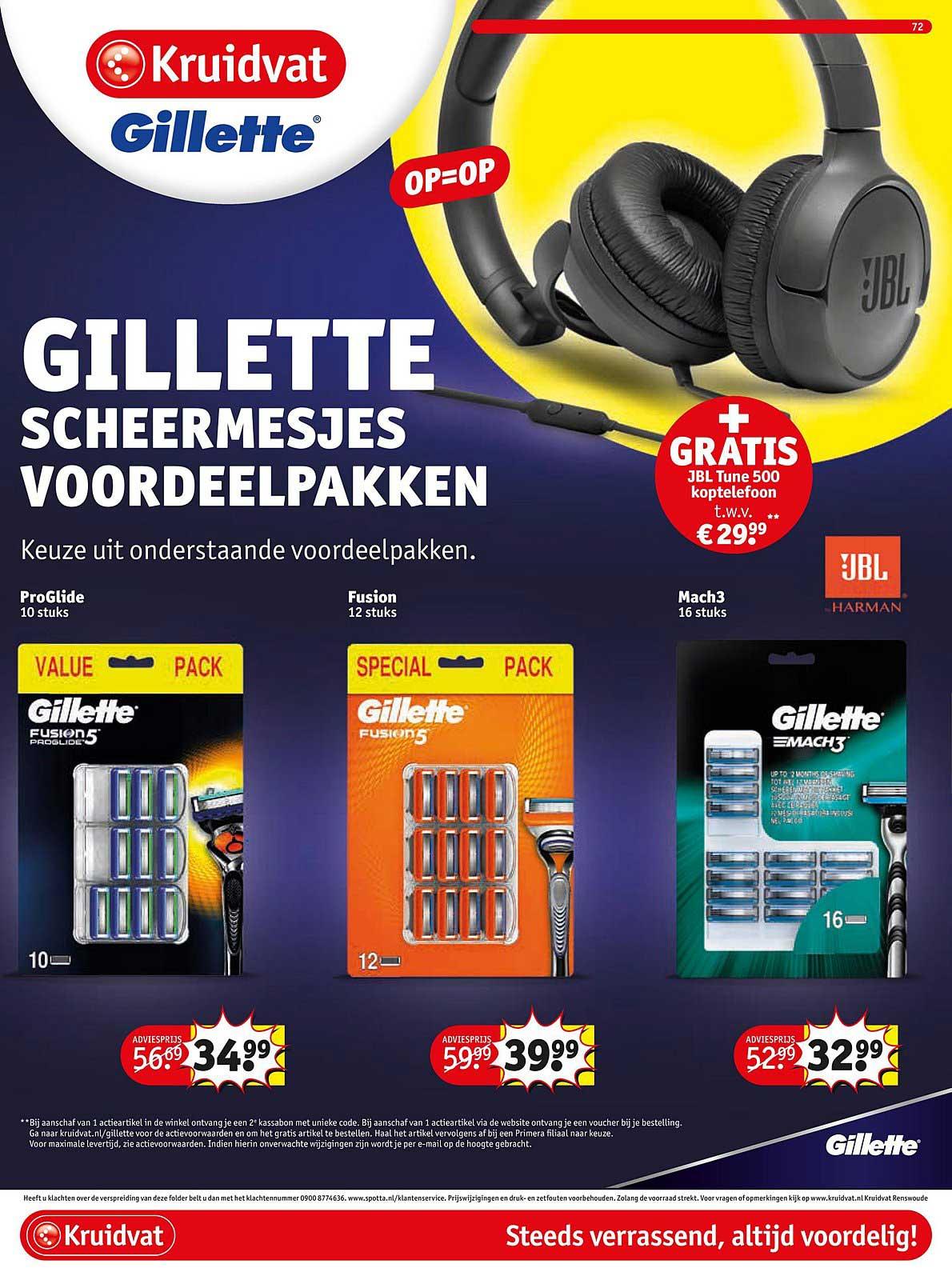 Kruidvat Gillette Scheermesjes Voordeelpakken + GRATIS JBL Tune 500 Koptelefoon T.w.v. €29,99