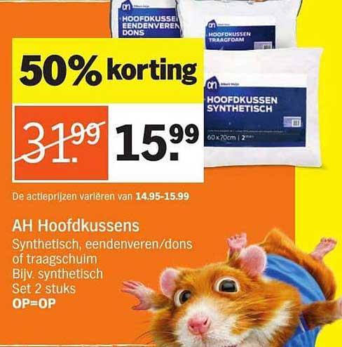 Albert Heijn Ah Hoofdkussens: 50% Korting