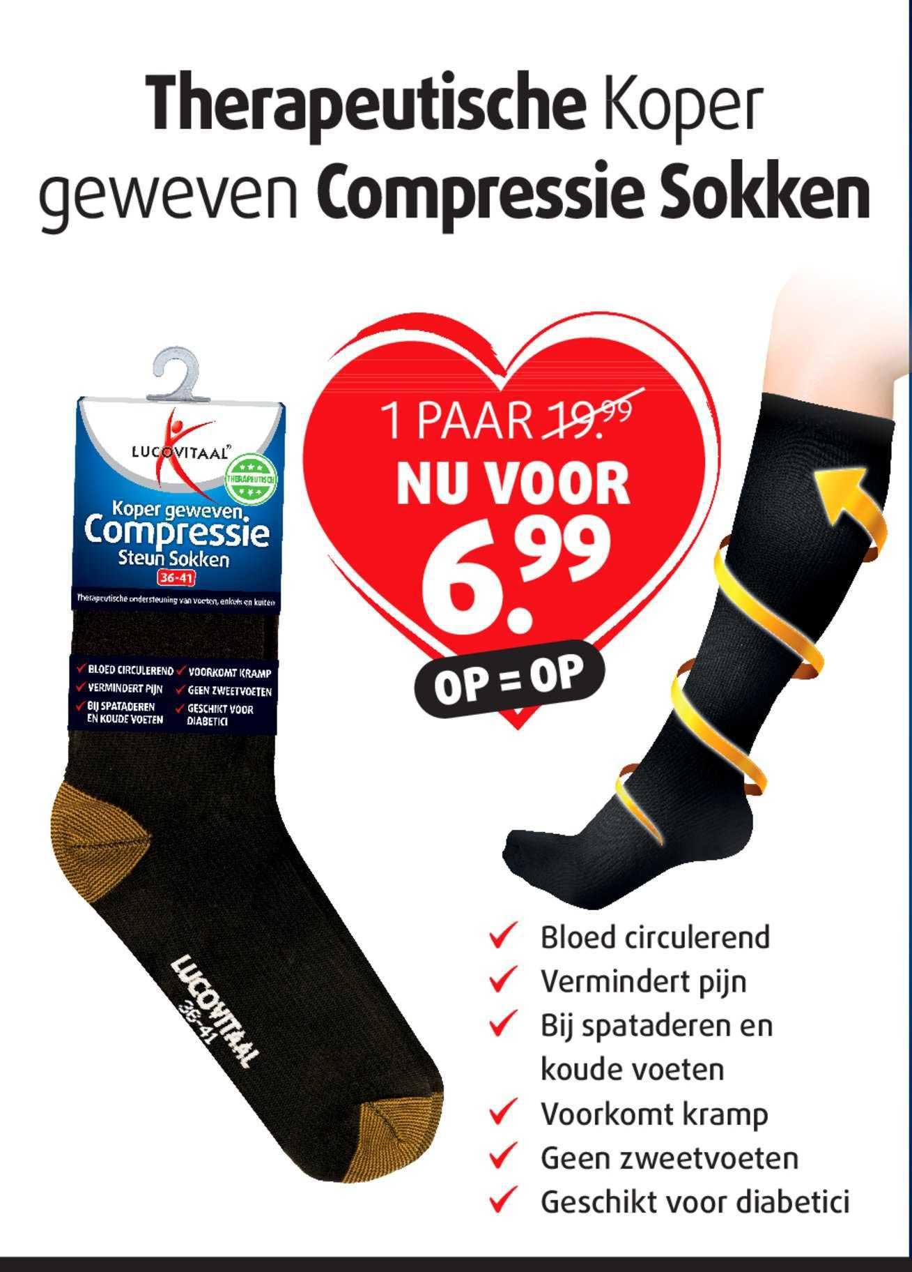 Lucovitaal Koper Geweven Compressie Steun Sokken