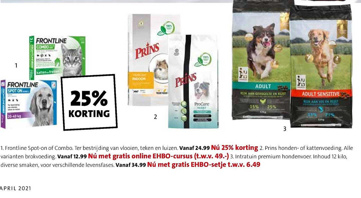 Intratuin Frontline Spot-On Of Combo, Prins Hondenvoeding Of Kattenvoeding Of Intratuin Premium Hondenvoer
