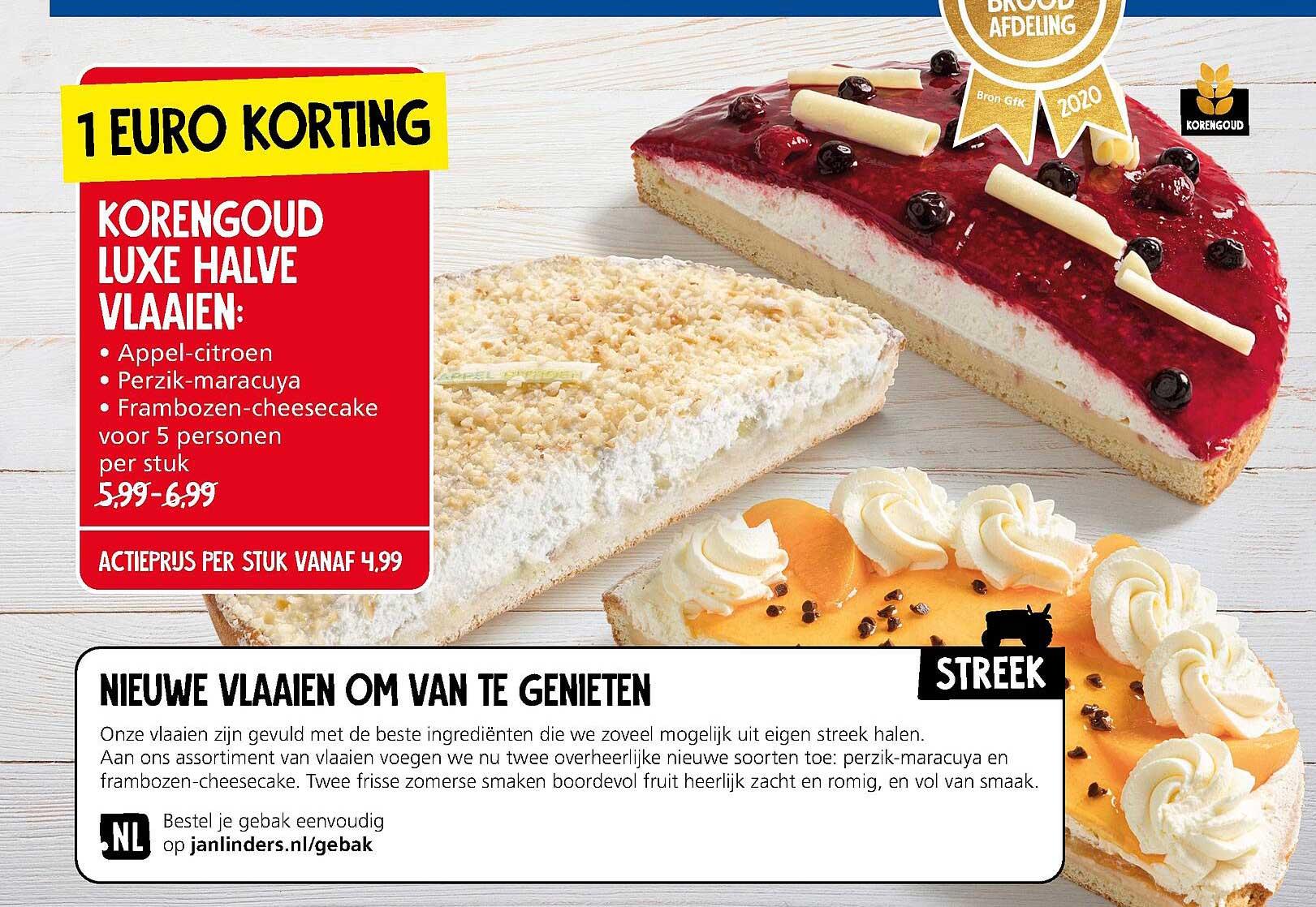 Jan Linders Korengoud Luxe Halve Vlaaien : Appel-Citroen, Perzik-Maracuya Of Frambozen-Cheesecake