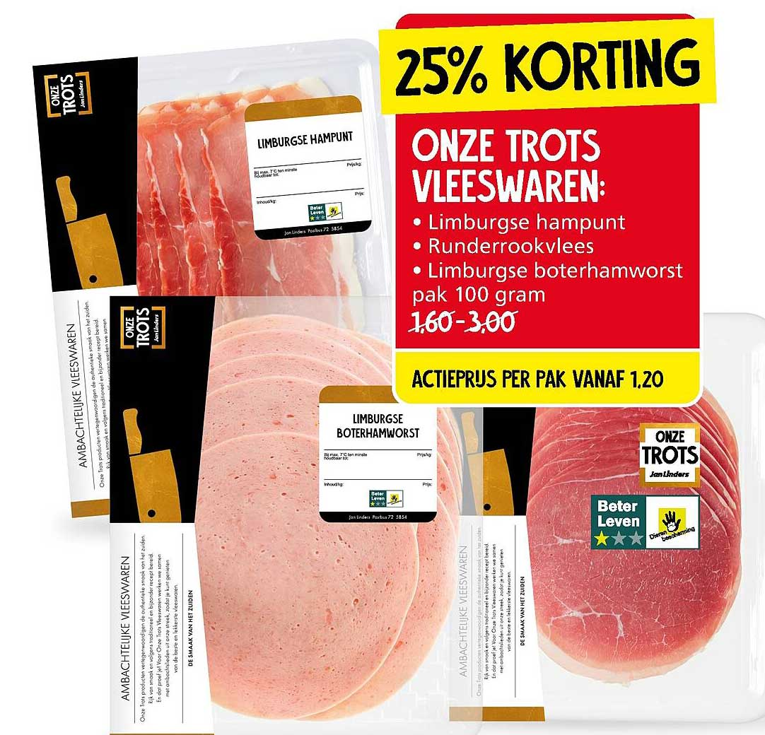 Jan Linders Onze Trots Vleeswaren : Limburgse Hampunt, Runderrookvlees Of Limburge Boterhamworst