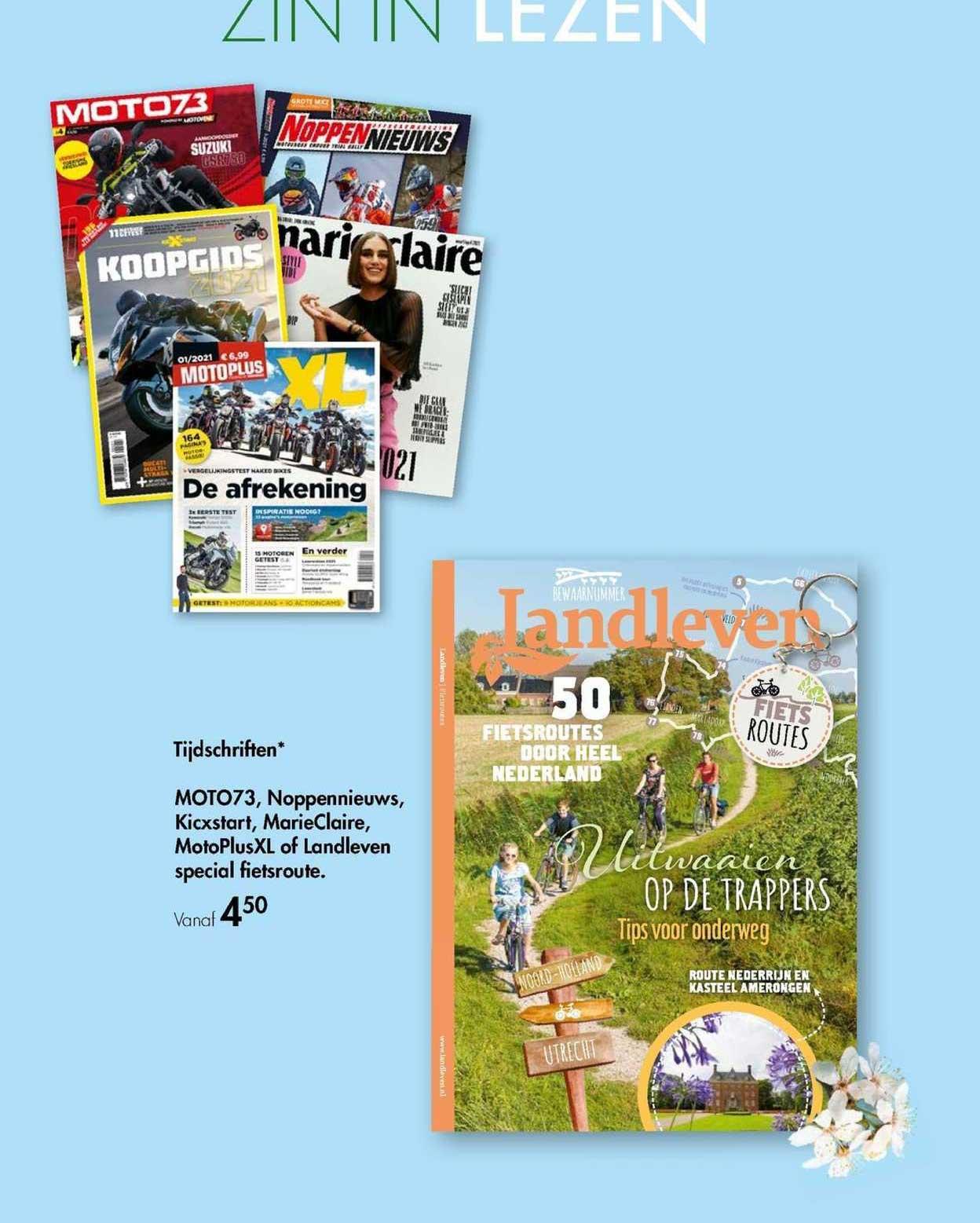 The Read Shop Tijdschriften Moto73, Noppennieuws, Kicxstart, MarieClaire, MotoPlusXL Of Landleven Special Fietsroute