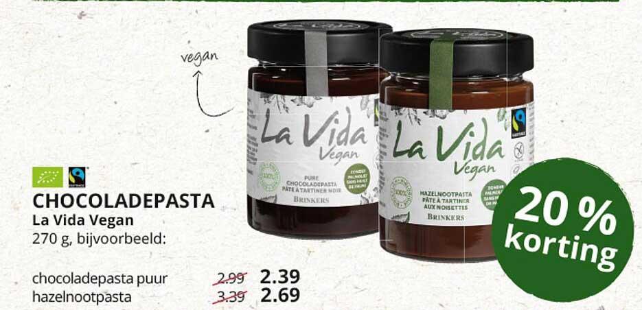 Natuurwinkel Chocoladepasta La Vida Vegan 20% Korting