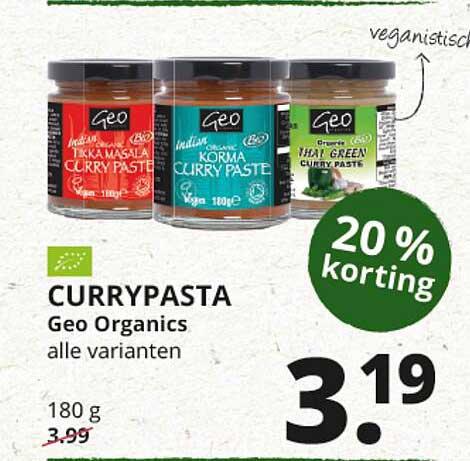 Natuurwinkel Currypasta Geo Organics 20% Korting