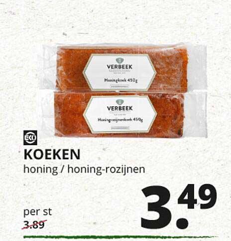 Natuurwinkel Koeken Honing - Honing-Rozijnen