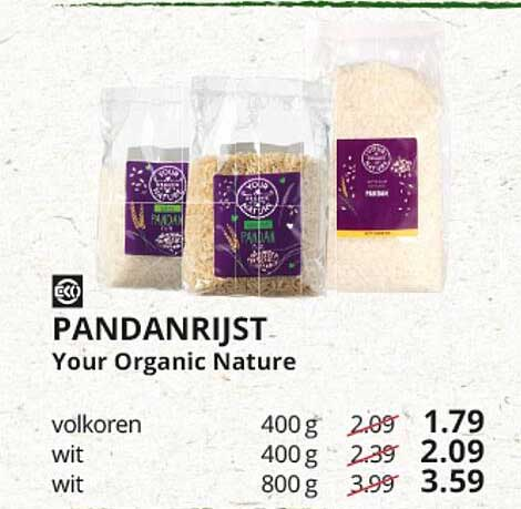 Natuurwinkel Pandanrijst Your Organic Nature