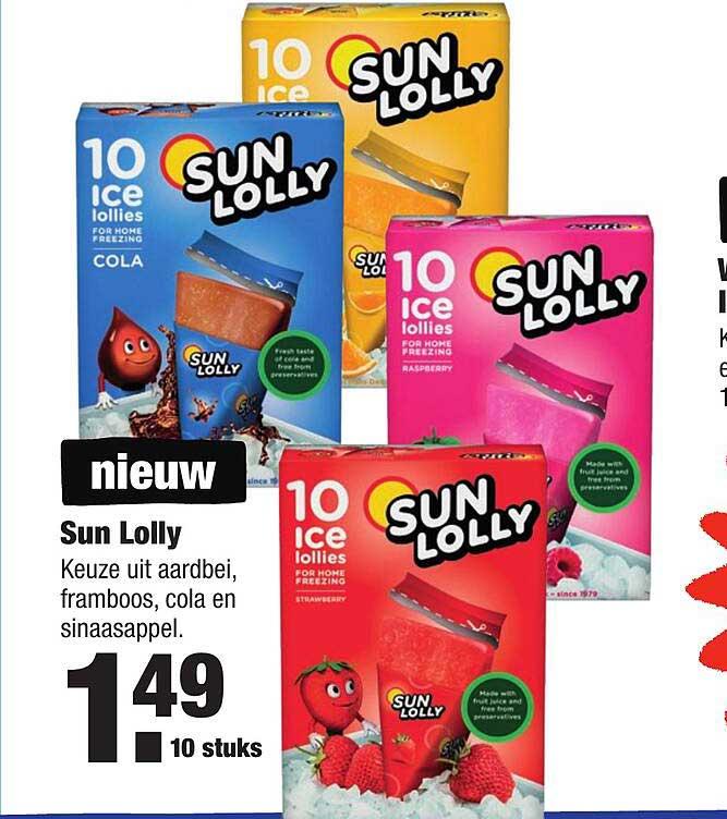ALDI Sun Lolly Aardbei, Framboos, Cola En Sinaasappel